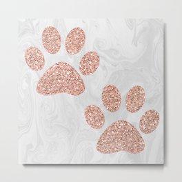 Rose Gold Paw Print Pattern Metal Print