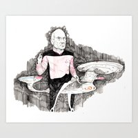 picard Art Prints featuring Picard by withapencilinhand