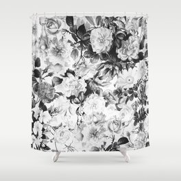 Black gray modern watercolor roses floral pattern Shower Curtain