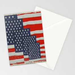 Patriotic Americana Flag Pattern Art Stationery Cards