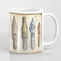 calligraphy Mugs featuring calligraphy nibs by ElvieStudio