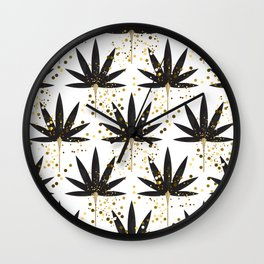 Stylized black palm leaves Wall Clock