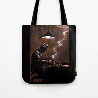 bar Tote Bags featuring Noir Bar by David Miley