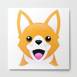 Corgi Emoji Style Metal Print