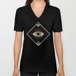 Esoteric eyes and moons geometric on black Unisex V-Neck