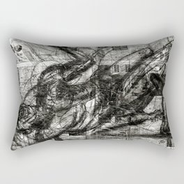 Breaking Loose - Charcoal on Newspaper Figure Drawing Rectangular Pillow