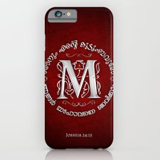 Joshua 24:15 - (Silver on Red) Monogram M Slim Case iPhone 6s