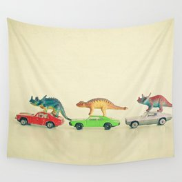 Dinosaurs Ride Cars Wall Tapestry