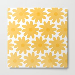 Crayon Flowers Cheerful Floral Pattern in Mustard Yellow and White Metal Print