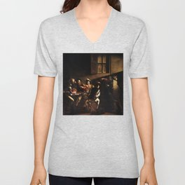 The Calling of St Matthew by Caravaggio (1600) Unisex V-Neck
