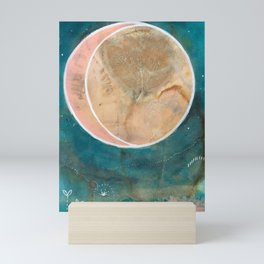 Pink Eco Print Moon Mini Art Print