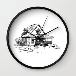 Winter Cottage Ink Wall Clock