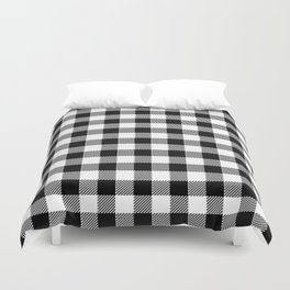 90's Buffalo Check Plaid in Black and White Duvet Cover