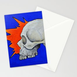 Blue skull, oil comic skull painting, NYC artist Stationery Cards