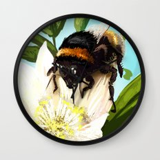 Bee on flower 5 Wall Clock