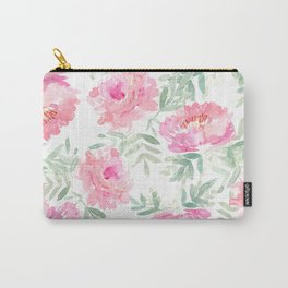 Watercolor Peonie with greenery Carry-All Pouch