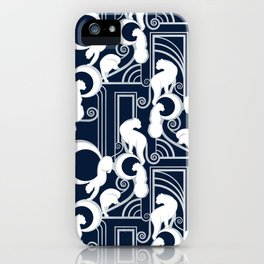 Deco Gatsby Panthers // navy and silver iPhone Case