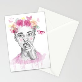 Girl and butterfly Stationery Cards