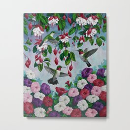 Hummingbirds in Fuchsia Flower Garden Metal Print