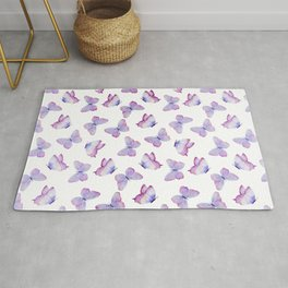 Lavender Purple Watercolor Hand Painted Butterfly Rug
