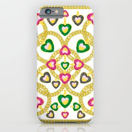 Jewelry Pattern with Gold Chains iPhone Case