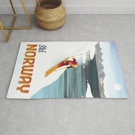 Ski Norway Vintage Travel Poster Rug