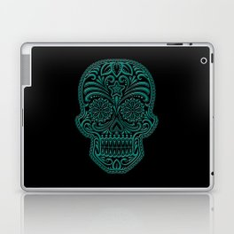 Intricate Teal Blue and Black Day of the Dead Sugar Skull Laptop & iPad Skin