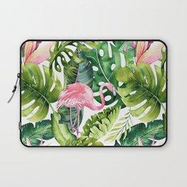 Flamingo Tropical, Colorful Tropical Jungle Monstera Painting, Watercolor Birds Banana Leaves Laptop Sleeve