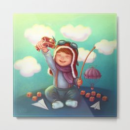 Little aviator Metal Print
