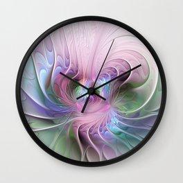 Temperament, Colorful Abstract Fractals Art Wall Clock