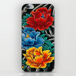 Japanese tattoo style Peonies  iPhone Skin