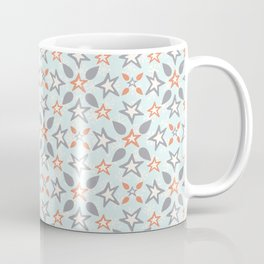 Orange and Blue Icy Winter Stars Snowflakes Coffee Mug
