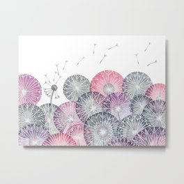Dandelions, pink flower geometric watercolor Metal Print