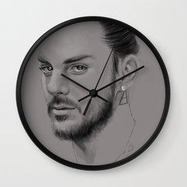 Shannon Leto digital Portrait grey LLFD Wall Clock