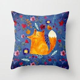 The Smart Fox in Flower Garden Throw Pillow