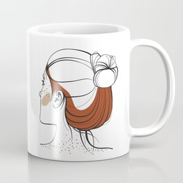 Red-haired woman with freckles. View from the back. Abstract face. Fashion illustration Coffee Mug