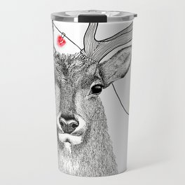 Elk with colourful lights around his antlers in a stippling style Travel Mug
