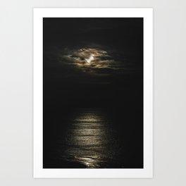 Moon lit Ocean Art Print