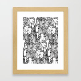 just cattle black white Framed Art Print