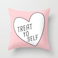 treat yo self Throw Pillows featuring Treat Yo Self by Evelyne van den Broek