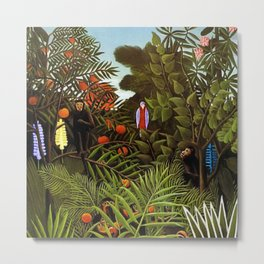 Exotic Jungle Landscape with Monkeys and Birds by Henri Rousseau Metal Print