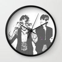 tegan and sara Wall Clocks featuring Tegan & Tegan & Sara & Sara - Gray by c.beanan