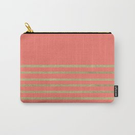 Peach and Gold Stripes Carry-All Pouch