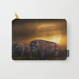American Buffalo Bison under a Super Moon Rise Carry-All Pouch