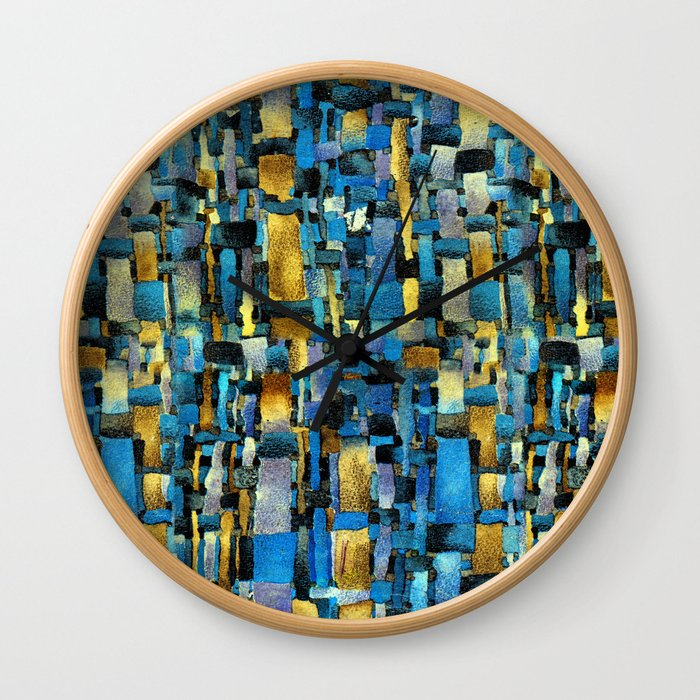 Gold and Turquoise Wall Clock