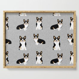 TriCorgis - Cute corgi, dog pet, corgi decor, corgi pillow, corgi bedding, corgi pattern, cute corgi Serving Tray