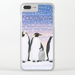 emperor penguin colony Clear iPhone Case