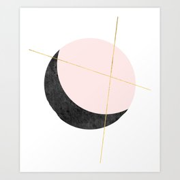 Pink Moon, Contemplation, Full Moon, Faux Gold Lines, Pink Black White Art Print