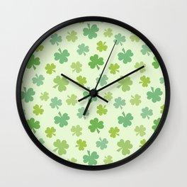 Happy St. Patrick's Day Shamrock Pattern on light green Wall Clock