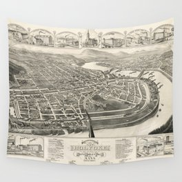 Vintage Pictorial Map of Holyoke MA (1881) Wall Tapestry